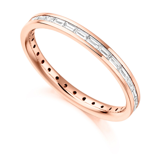 0.60cts Baguette Cut Diamond Full Eternity Ring In Rose Gold