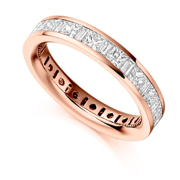 3 Carat Princess & Baguette Diamond Full Eternity Ring In Rose Gold