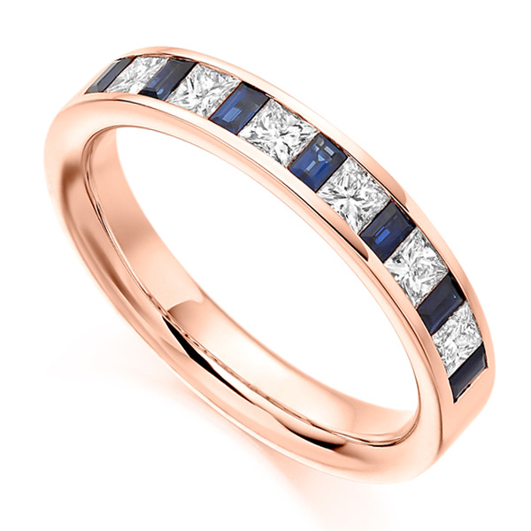 0.56ct Princess Diamond & Blue Sapphire Baguette Half Eternity Ring In Rose Gold