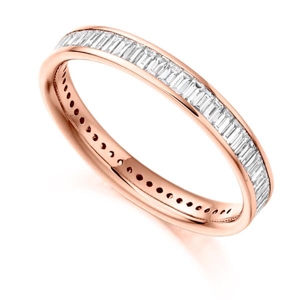 1.05cts Baguette Diamond Full Eternity Ring In Rose Gold