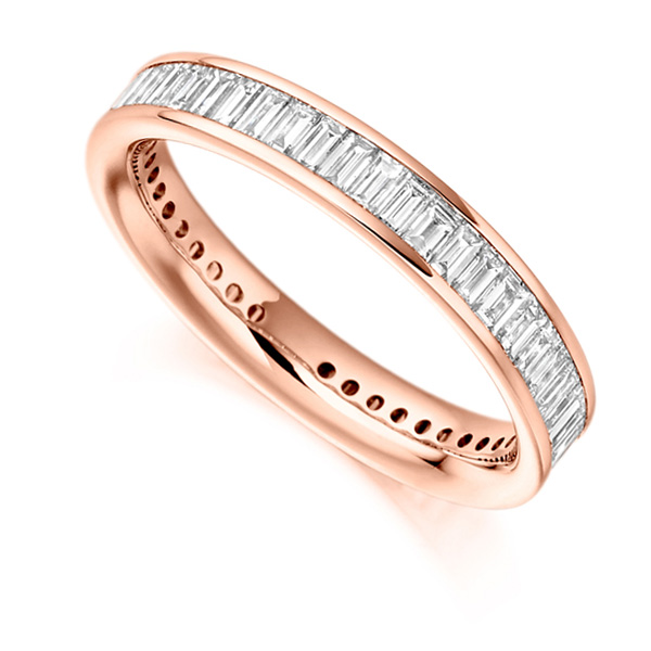 1.50cts Cross Set Baguette Diamond Full Eternity Ring In Rose Gold