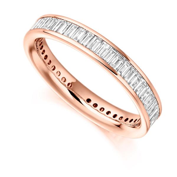 1.50cts Cross Set Baguette Diamond Full Eternity Ring In Rose Gold