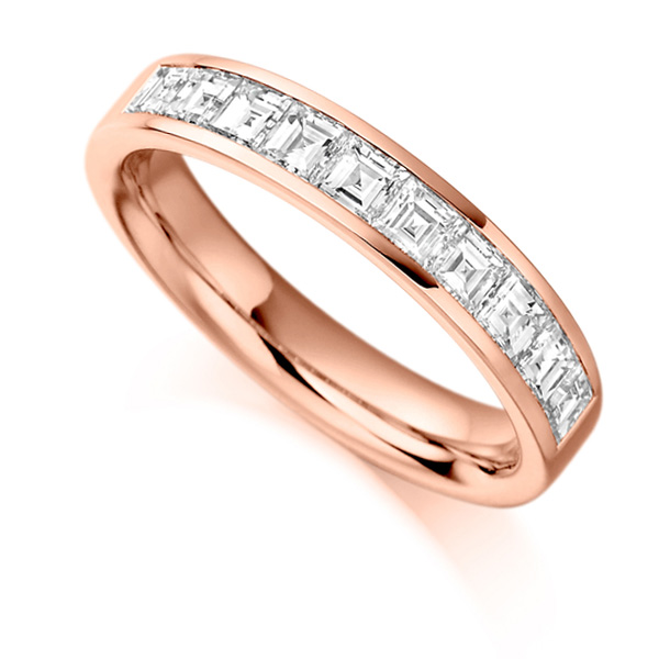 1 Carat Carré Cut Diamond Half Eternity Ring In Rose Gold