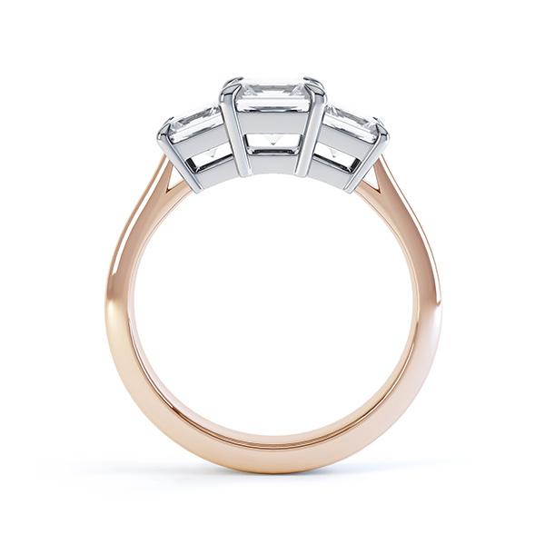 Three stone princess cut diamond engagement ring side view rose gold