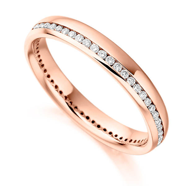 0.31cts Round Diamond Offset Channel Eternity Ring In Rose Gold