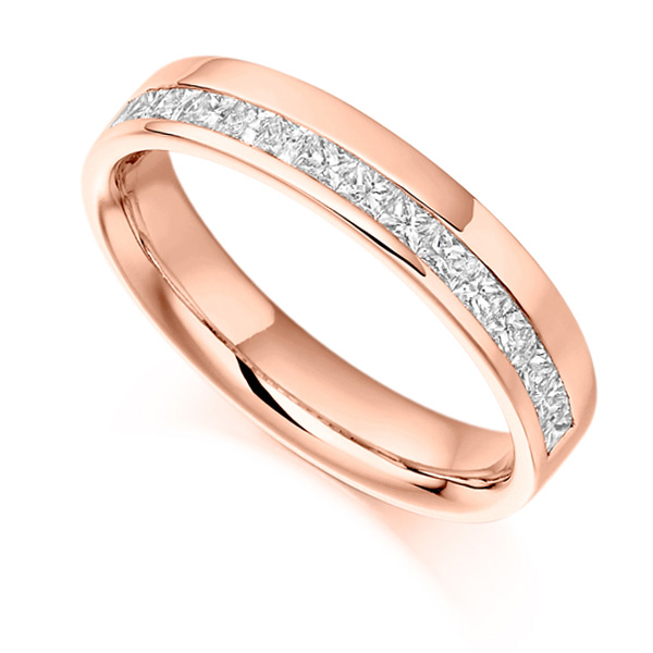 0.50cts Princess Half Eternity Ring with Offset Channel In Rose Gold