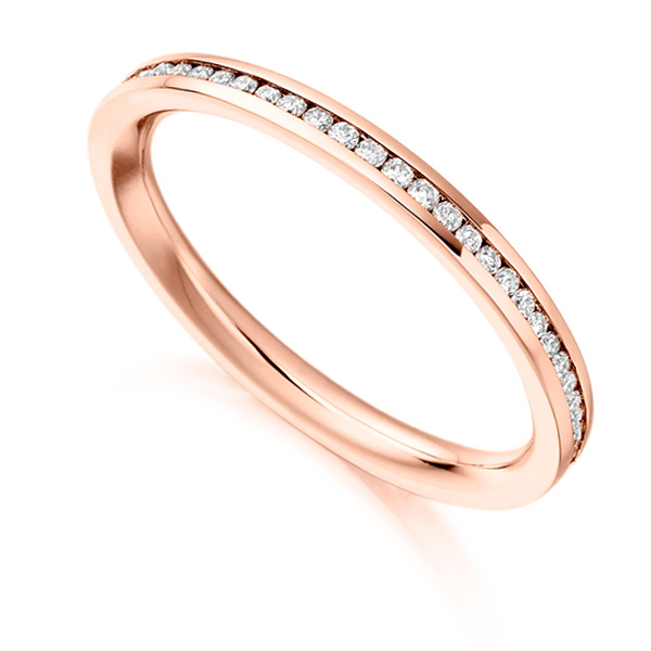0.33cts Fully Channel Set Round Diamond Eternity Ring In Rose Gold