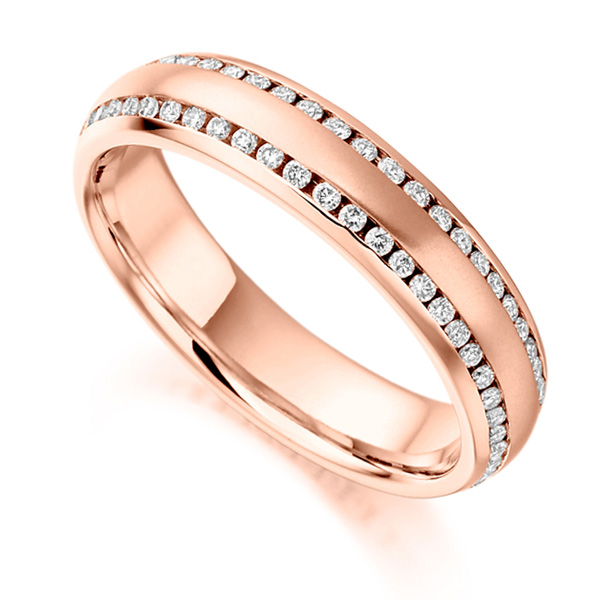 0.50ct Double Edged Channel Set Diamond Eternity Ring In Rose Gold