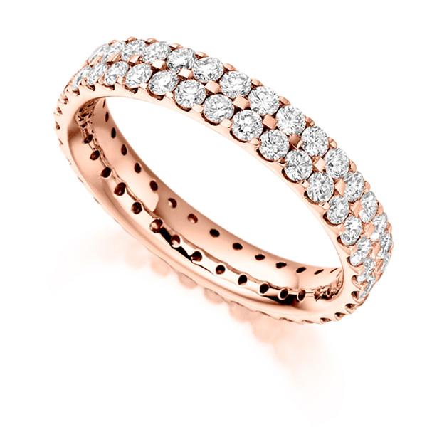 1.50ct 2 Row Pavé Set Full Diamond Eternity ring In Rose Gold