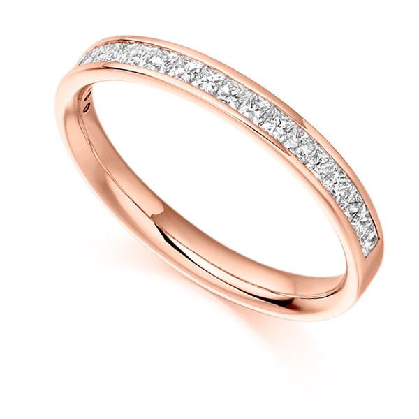 0.50ct Princess Cut Diamond Half Eternity Ring In Rose Gold
