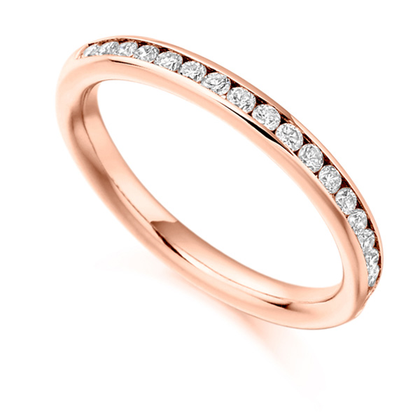 0.33cts Channel Set Round Diamond Half Eternity Ring In Rose Gold