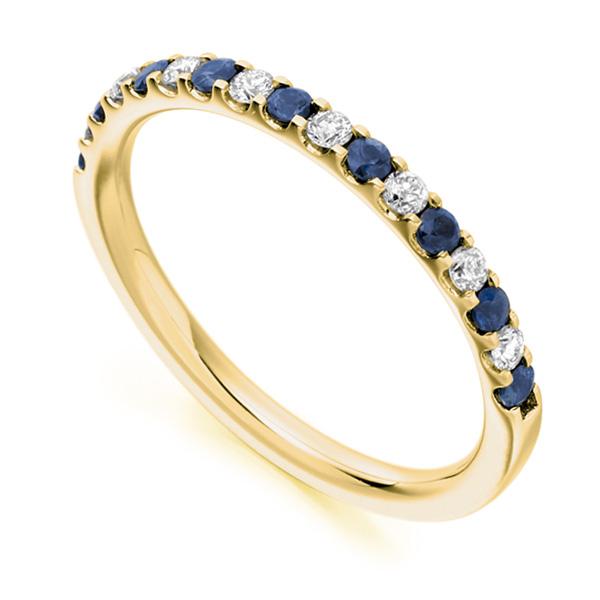 0.14cts Round Blue Sapphire & Diamond Half Eternity Ring In Yellow Gold