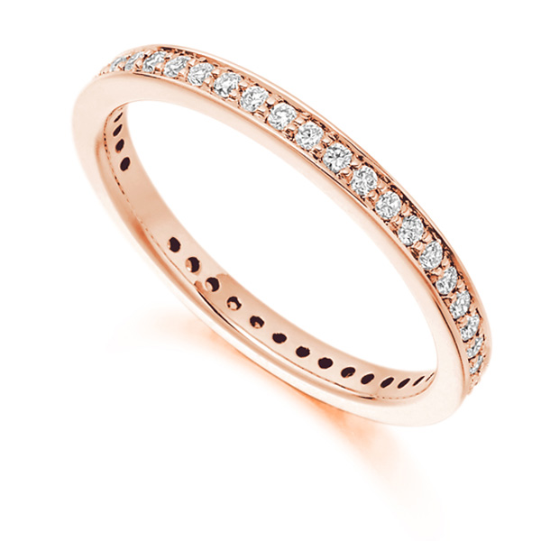 0.40ct Channel & Grain Set Full Diamond Eternity Ring In Rose Gold