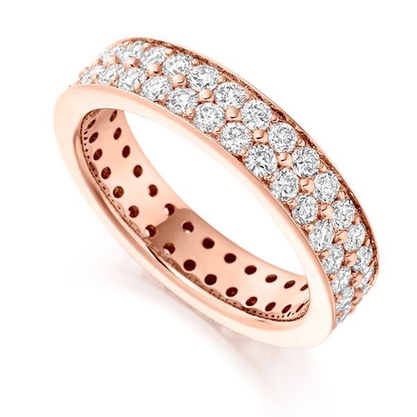 2 Carat 2 Row Grain Set Full Diamond Eternity Ring In Rose Gold