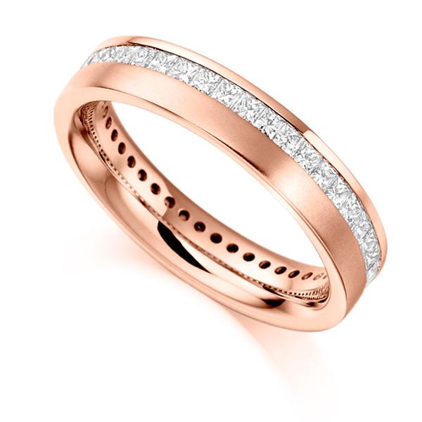 1 Carat Offset Channel Full Diamond Eternity Ring In Rose Gold
