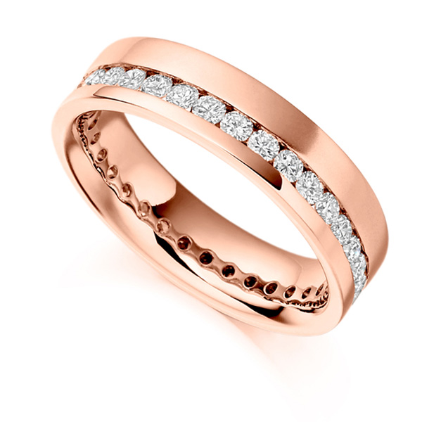 1 Carat Offset 5.2mm Wide Diamond Eternity Ring In Rose Gold
