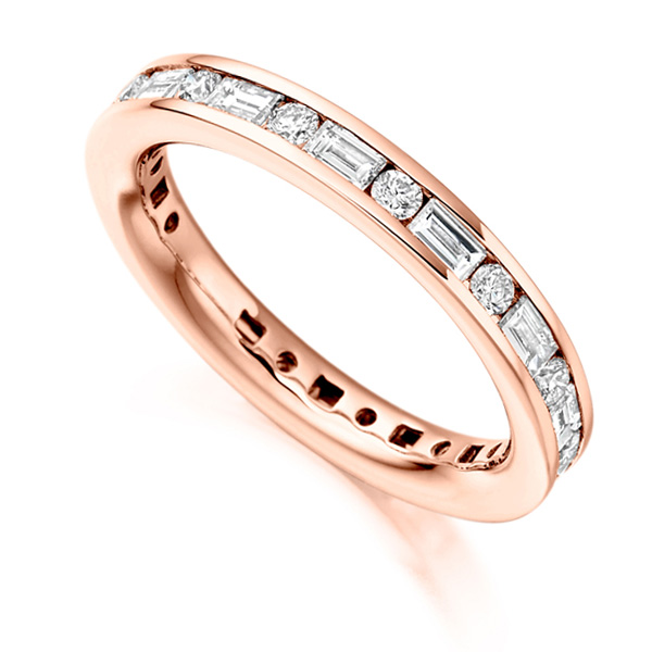1.25cts Lengthways Set Baguette & Round Diamond Eternity Ring In Rose Gold