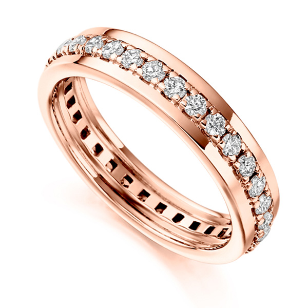 0.80cts Grain Set Full Diamond Eternity Ring In Rose Gold
