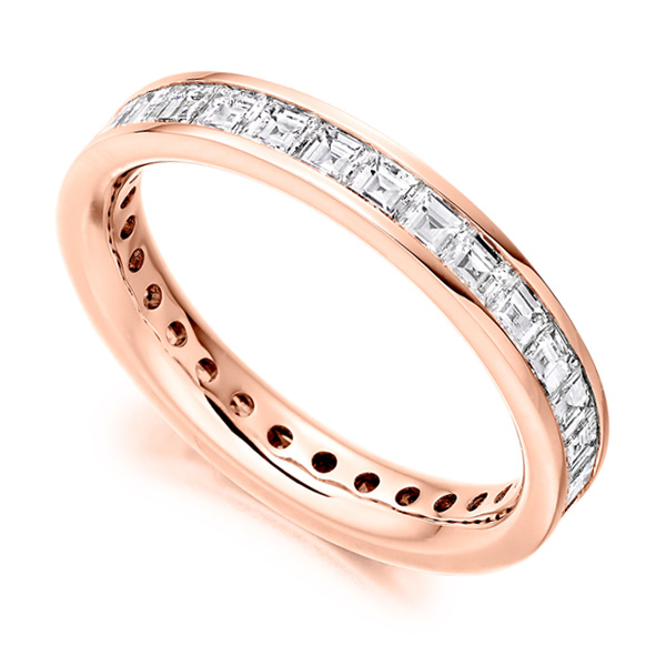2 Carat Carré Cut Full Diamond Eternity Ring In Rose Gold