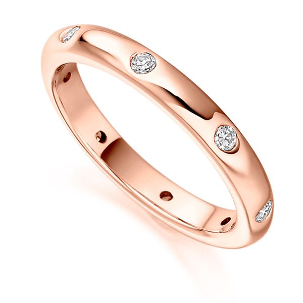 0.24ct Flush Set 3mm Full Diamond Eternity Ring In Rose Gold