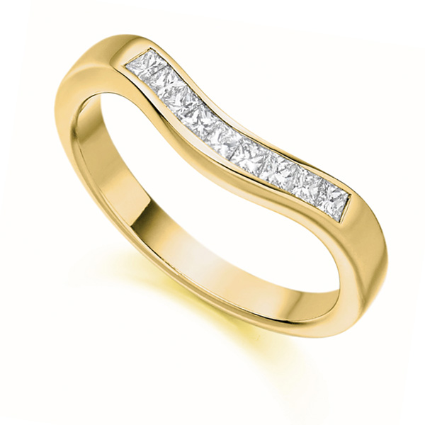 0.35cts Princess Cut Shaped Diamond Wedding Ring In Yellow Gold