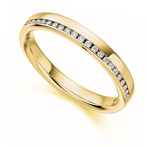 0.12cts Offset Channel Diamond Half Eternity Ring In Yellow Gold