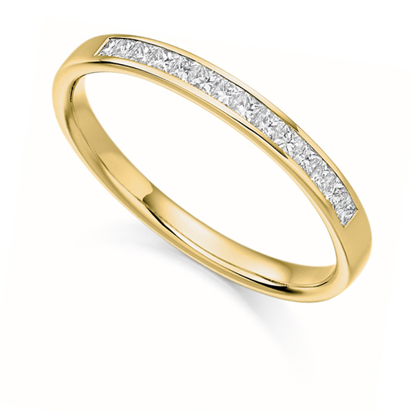 0.20cts Princess Cut Diamond Half Eternity Ring In Yellow Gold