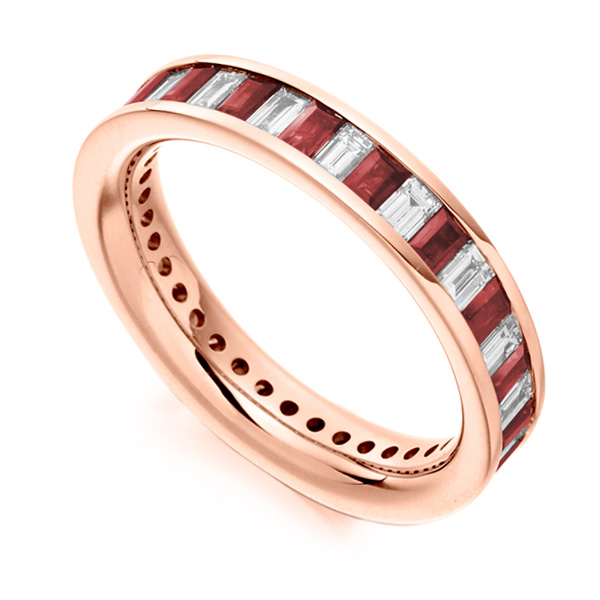 1 Carat Baguette Cut Diamond and Ruby Full Eternity Ring In Rose Gol