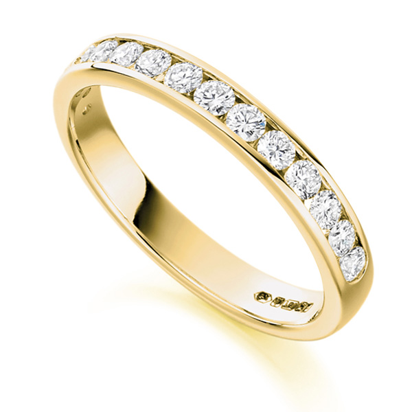 0.50cts Half Channel Set Diamond Eternity ring In Yellow Gold