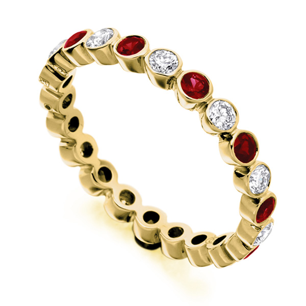 0.51ct Bezel Set Diamond and Ruby Full Eternity Ring In Yellow Gold