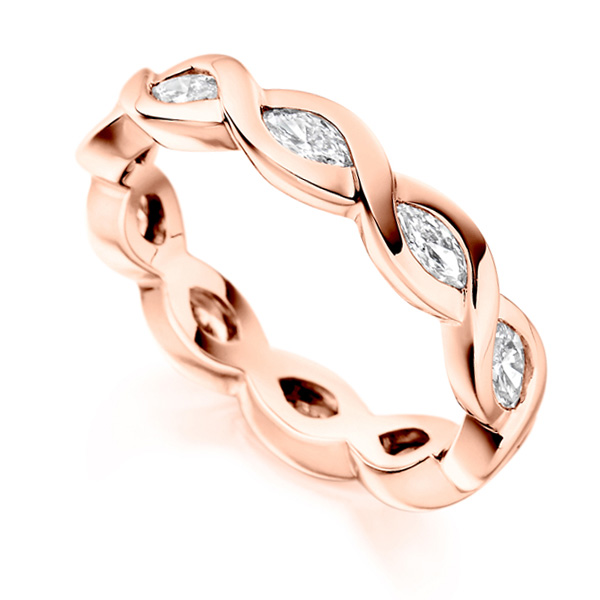 1 Carat Unique Marquise Cut Full Diamond Eternity Ring In Rose Gold