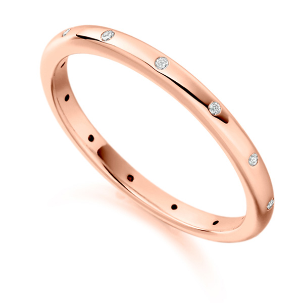 0.06ct Elegant Fully Flush Set 2mm Diamond Band In Rose Gold