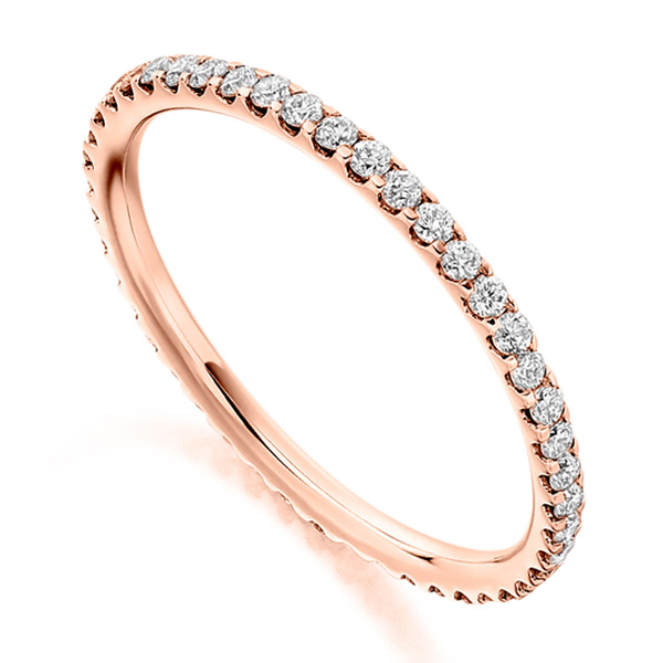 0.50cts Finely Claw Set Full Diamond Eternity Ring In Rose Gold