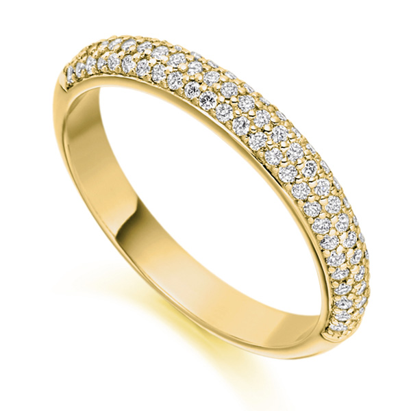 0.40cts Pavé Set Diamond Half Eternity Ring In Yellow Gold