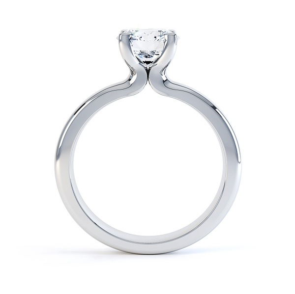 Side view of the swan 4 claw solitaire engagement ring white gold
