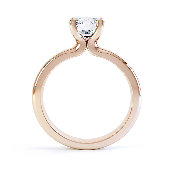 Side view of the swan 4 claw solitaire engagement ring rose gold