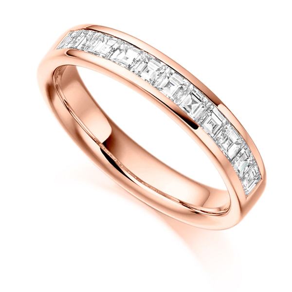 0.75cts Carré Cut Diamond Half Eternity Ring In Rose Gold