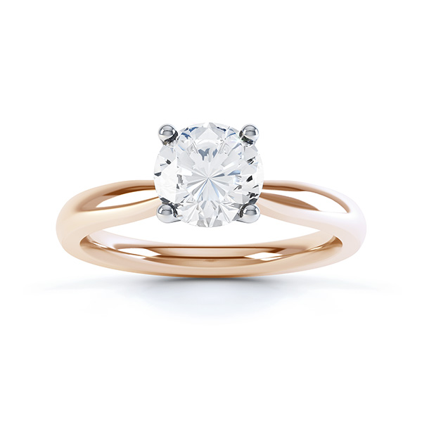Ella engagement ring R1D004 top view in rose gold
