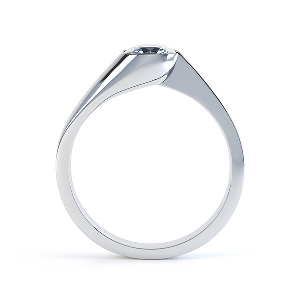 Zoe bezel set diamond engagement ring side view white gold
