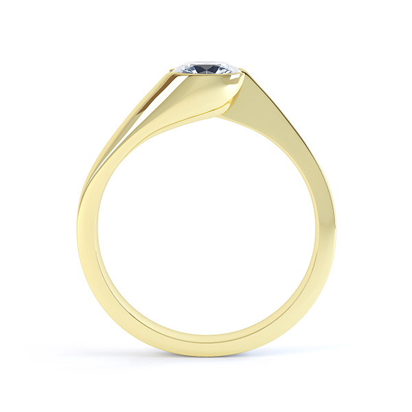 Zoe bezel set diamond engagement ring side view yellow gold