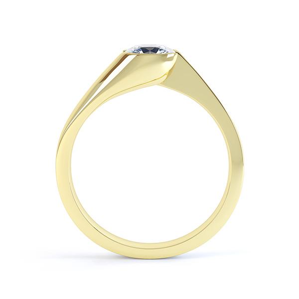 Zoe bezel set diamond engagement ring side view yellow gold