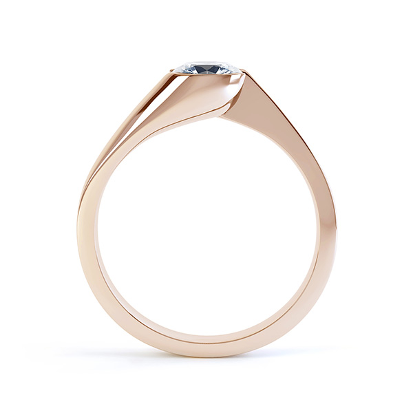 Zoe bezel set diamond engagement ring side view rose gold