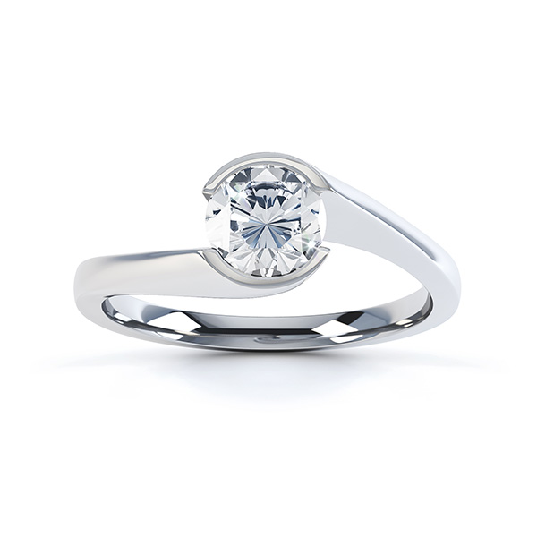 Zoe bezel set diamond engagement ring top view white gold