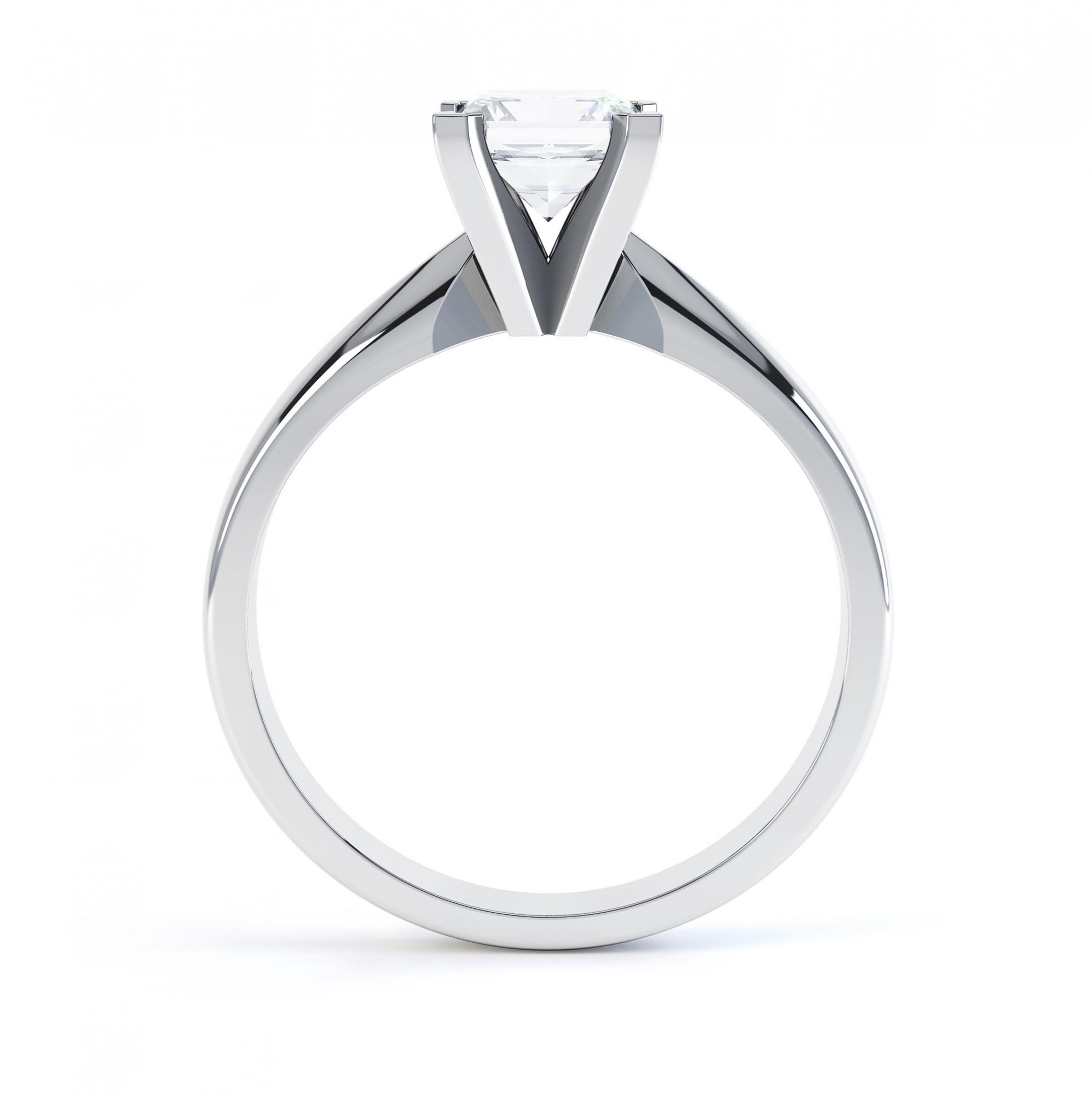 4 Claw Princess cut engagement ring Aurora side view white gold