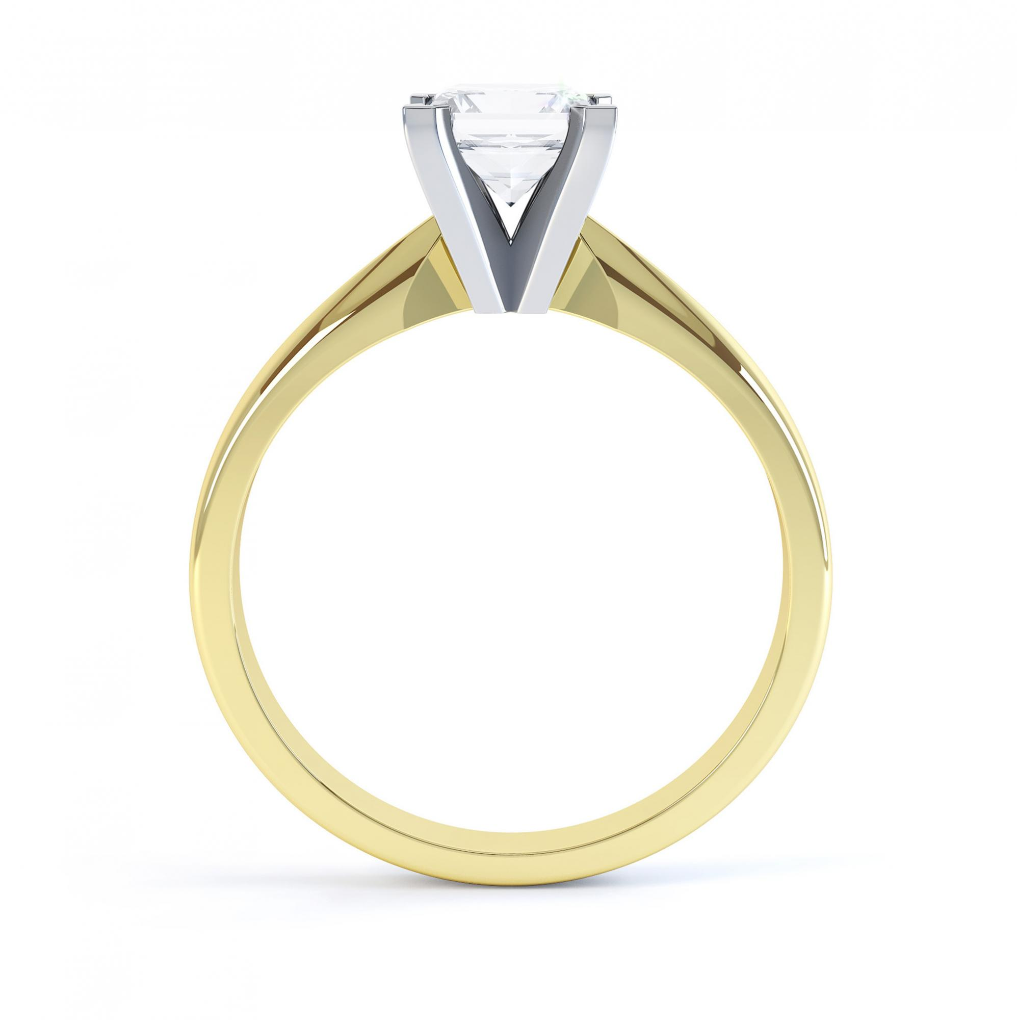 4 Claw Princess cut engagement ring Aurora side view yellow gold