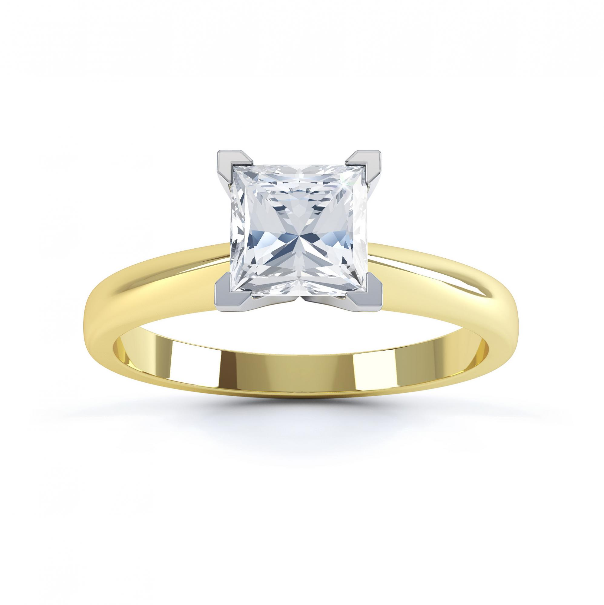 4 Claw Princess cut engagement ring Aurora top view yellow gold