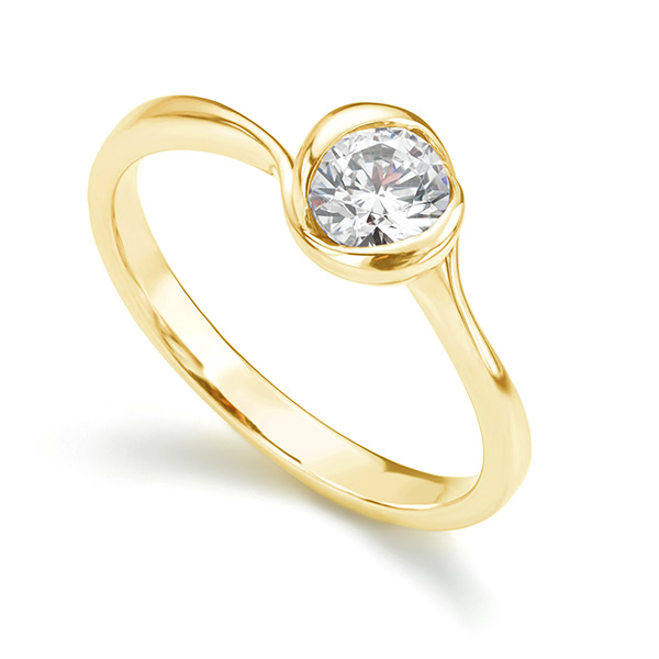 Rosebud Round Solitaire Engagement Ring Yellow Gold 0.50cts
