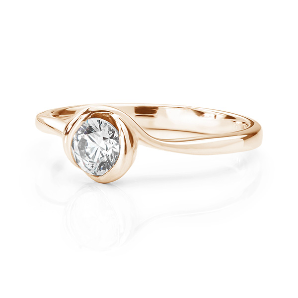 Rosebud engagement ring rose gold lying down