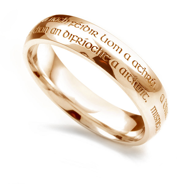 Wedding vow engraved ring in Yellow Gold