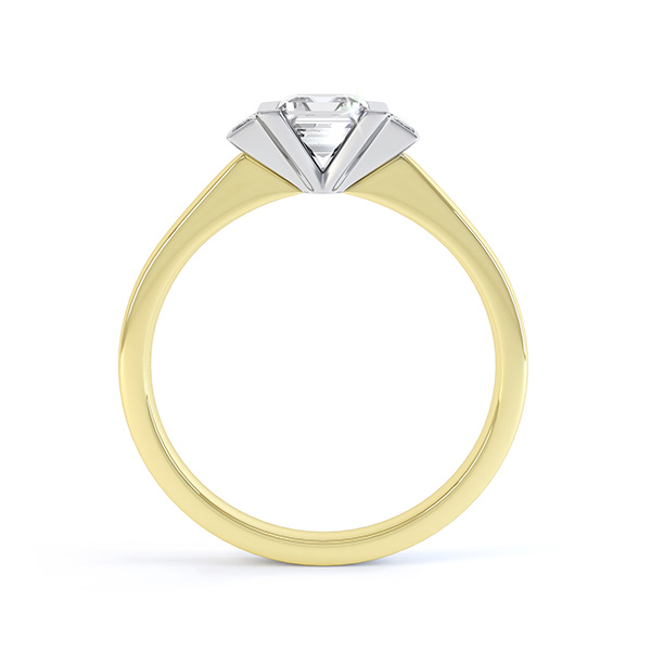Art Deco engagement ring side view in 18ct Yellow Gold with White Gold setting